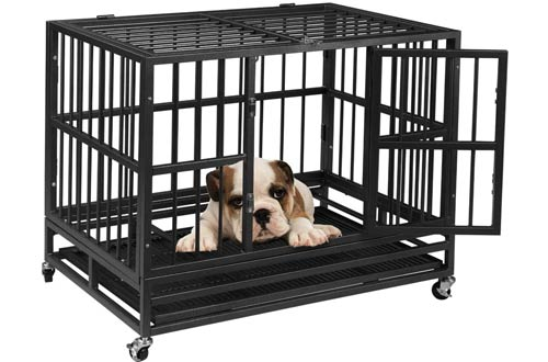 AINFOX 48-Inch Heavy Duty Dog Crates - Indoor Large Dog Kennels