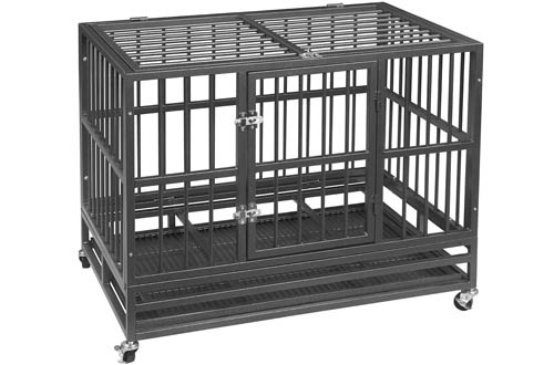 PUPZO Heavy Duty Dog Crates - Carbon Steel Dog Cage for Large Dogs